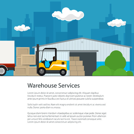 Flyer Warehouse Services ,Warehouse with Forklift Truck on the Background of the City and Text, Transportation and Cargo Services and Storage, Brochure Poster Design, Vector Illustration Illustration