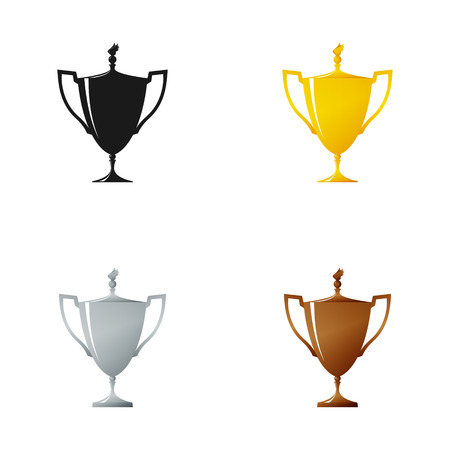 Set of Cups on a White Background , Gold , Silver ,Bronzed and Silhouette Trophy Cup of Winners , Vector Illustration Illustration