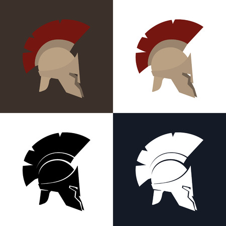 Set of Four Kind Roman Helmet, Color and Silhouette Antiques Greek Helmet for Head Protection Legionnaire with a Crest of Feathers or Horsehair , Vector Illustration