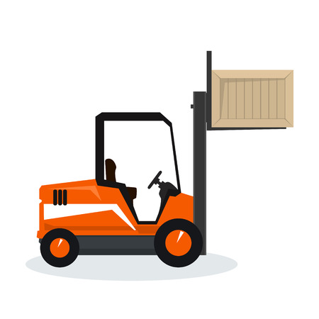 Orange Forklift Truck Isolated on White Background, Vehicle Forklift Lifted the Box Up, Vector Illustration