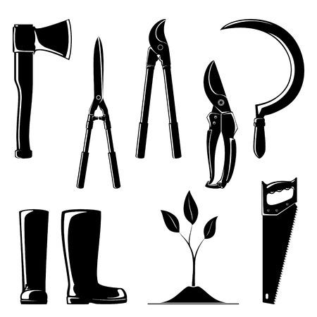 농업 도구, 정원 및 조 경 도구 세트, Loppers와 전정 전단, 작업 고무 부츠와 낫의 실루엣. 일러스트