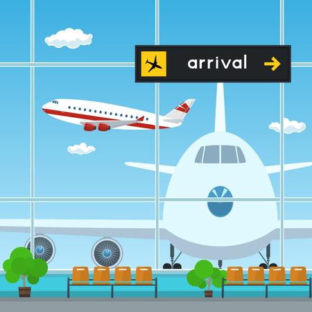 Waiting Room and Scoreboard Arrivals, Airport, Travel Concept, Flat Design, Vector Illustration Ilustração