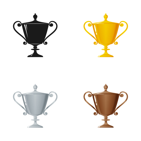 bronzed: Set of Trophy Cups on a White Background , Gold , Silver ,Bronzed and Silhouette Cup of Winners , Vector Illustration