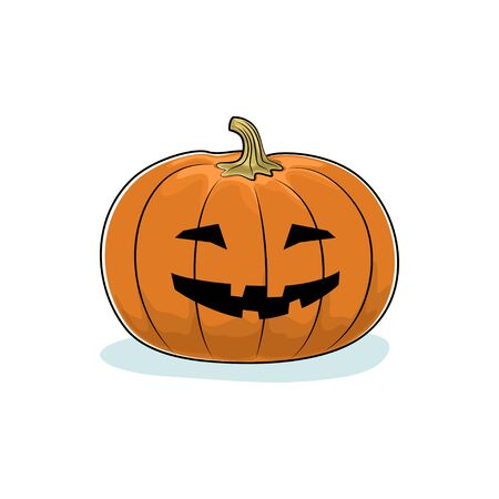 Carved Grinning Scary Halloween Pumpkin, a Jack-o-Lantern on White Background Stock Photo