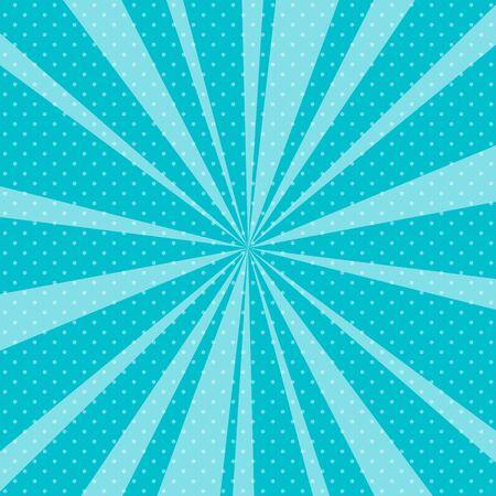 Blue Pop Art Retro Background with Sunbeams Иллюстрация