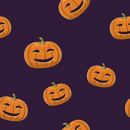 seamless: Seamless Pattern of Carved Smiling Scary Halloween Pumpkin, Jack-o-Lantern, Vector Illustration Illustration