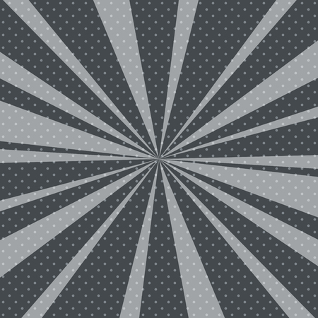 round: Retro Pop Art Background with Sunbeam, Dots on Gray Background and the Suns Rays , Vector Illustration