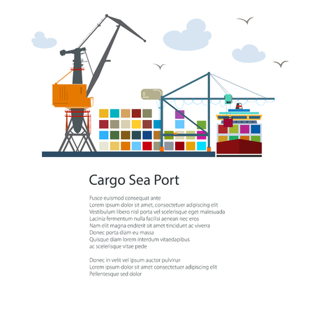 Cargo Seaport and Text, Unloading Containers from a Ship at the Docks with Cargo Crane, International Freight Transportation, Poster Brochure Flyer Design, Vector Illustration