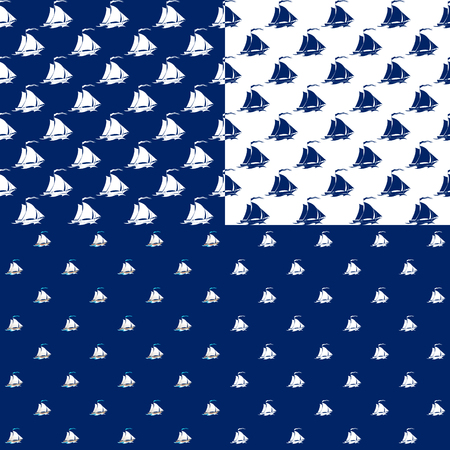 seamless: Set of Maritime Backgrounds , Seamless Marine Pattern with Sailing Vessel , Travel and Tourism Concept , Vector Illustration
