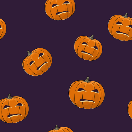 seamless: Seamless Pattern of Carved Evil Scary Halloween Pumpkin, Jack-o-Lantern, Vector Illustration Illustration