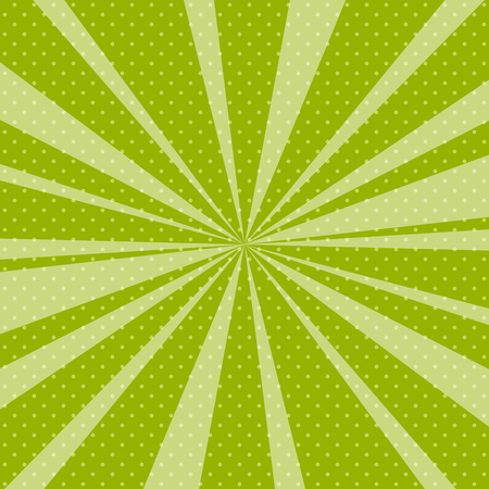 Retro Pop Art Background with Sunbeam, Dots on Green Background and the Sun's Rays , Vector Illustration