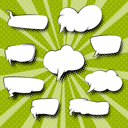Set of Empty Speech Bubbles on Green Pop Art Background , Retro Background with Dots and Sunbeams , Vector Illustration