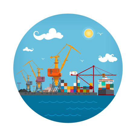 Seaport Icon, Unloading Containers from a Cargo Ship in a Docks with Cargo Crane, Container Ship at the Dock, International Freight Transportation, Vector Illustration