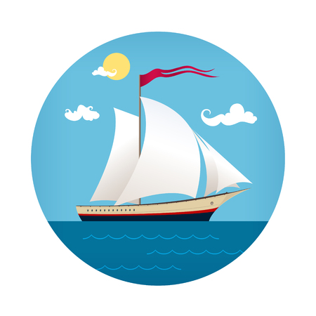 caribbean cruise: Icon of Yacht on the Waves, Sailing Vessel for Travel Concept , Vector Illustration