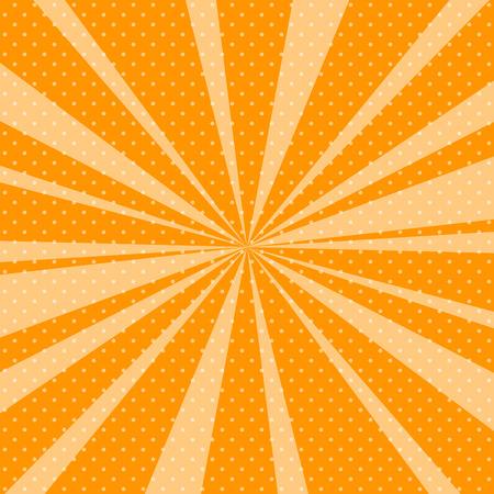 太陽光線、背景のオレンジと太陽光線にドットとレトロな Pop アート背景ベクトル イラスト