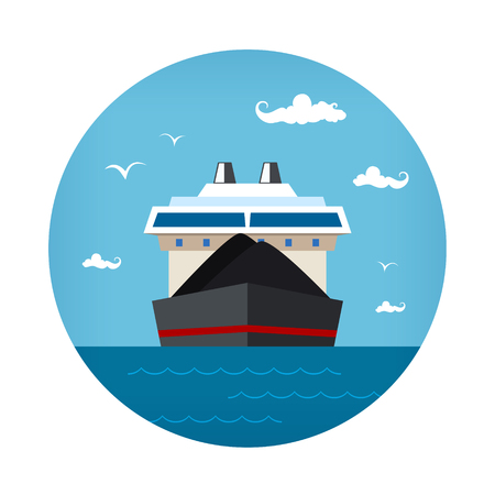Front View of the Dry Cargo Ship at the Sea , Industrial Marine Vessel is Transporting Coal and Ore, Icon International Freight Transportation, Vector Illustration Illustration