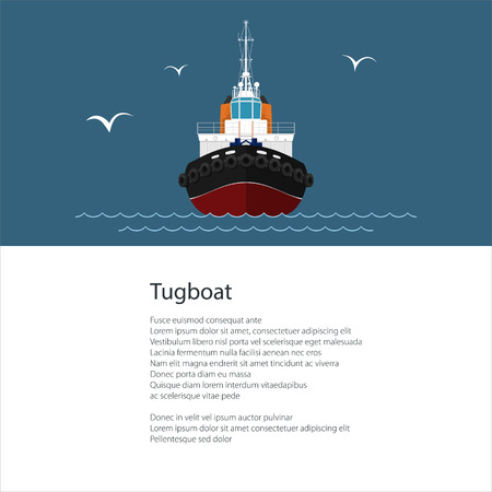Industrial Vessel Tugboat , Push Boat and Text ,Poster Brochure Flyer Design, Vector Illustration