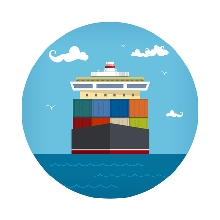 Front View of the Cargo Container Ship , Industrial Marine Vessel with Containers on Board, International Freight Transportation Icon, Vector Illustration