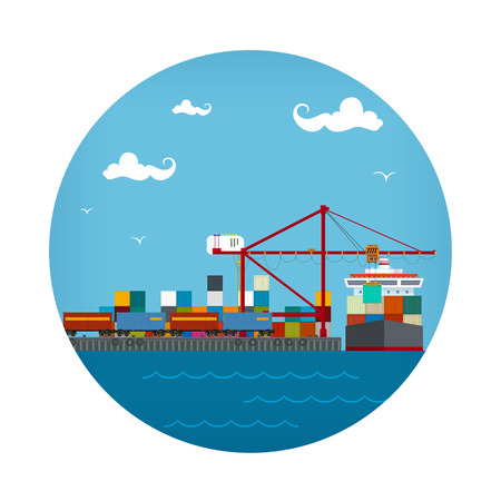 Icon Cargo Container Ship at the Dock, Containers lossen vanaf een schip in een zeehaven met ladingkraan en internationaal goederenvervoer. Stock Illustratie