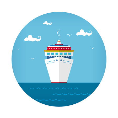 Icon Cruise Ship , Front View of the Liner, Travel Concept , Vector Illustration Illustration