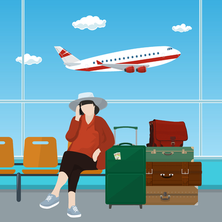Waiting Room at the Airport with Woman, Passenger with Luggage on the Background of a Window with a Flying Airplane, Vector Illustration Illustration