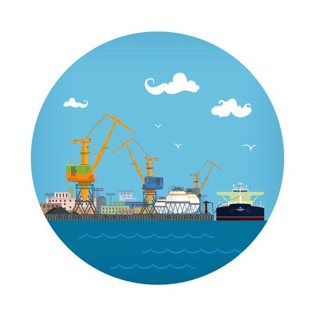 Cargo Sea Port Icon, Loading or Unloading Oil from the Tanker ,Sea Freight Transportation, Logistic, Vector Illustration Vettoriali
