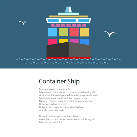 Front View of the Cargo Ship with Containers on Board , Industrial Marine Vessel and Text , Shipping, Poster Brochure Flyer Design, Vector Illustration
