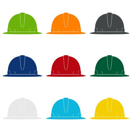 Set of Working Hard Hat in Nine Colors, Colored Safety Helmets on a White Background , Vector Illustration