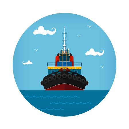 タグボートのアイコン、プッシュのボートは、ベクトル図正面図  イラスト・ベクター素材