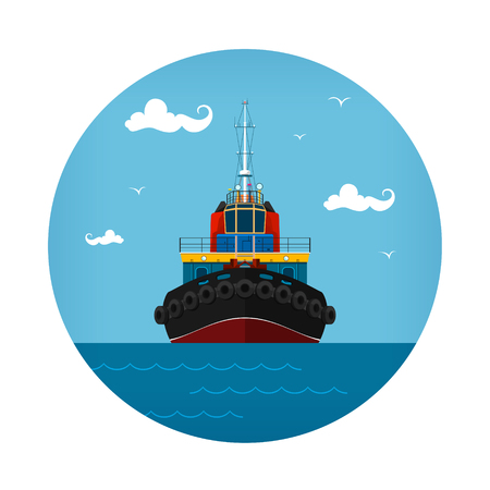Tugboat Icon, Front View of the Push Boats, Vector Illustration Illustration