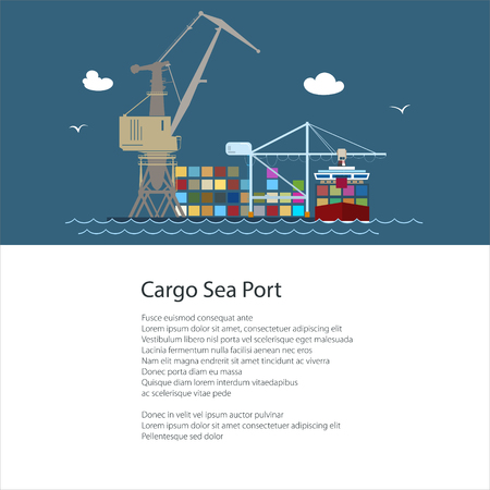 Poster with Seaport ,Cargo Crane and Container Ship , Unloading Containers from a Vessel and Text , International Freight Transportation and Shipping, Brochure Flyer Design, Vector Illustration