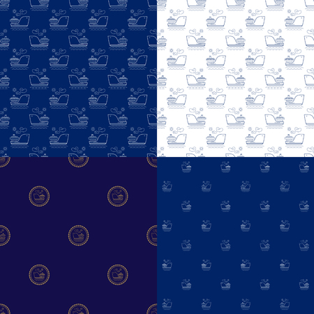 Set of Maritime Backgrounds , Seamless Marine Pattern with Vessel , Travel and Tourism Concept , Thin Linear Design, Vector Illustration