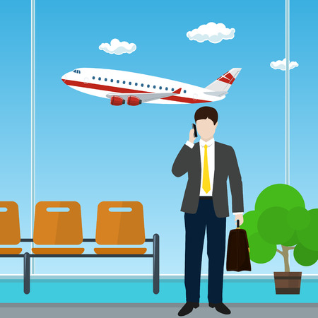 Waiting Room at the Airport, Man with a Briefcase on the Background of a Window with a Flying Airplane, Vector Illustration Illustration