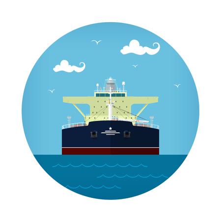 Oil Tanker Icon, Tank Ship , Vector Illustration Illustration