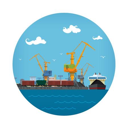 Icono de puerto marítimo, descarga de carbón o mineral del buque de carga seca, logística, transporte de carga marítima, almacenes portuarios y grúas con vagones de tren, ilustración vectorial Foto de archivo - 90216189