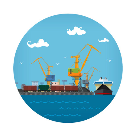 Seaport Icon, Unloading Coal or Ore from the Dry Cargo Ship, Logistic , Sea Freight Transportation, Port Warehouses and Cranes with Train Wagons, Vector Illustration