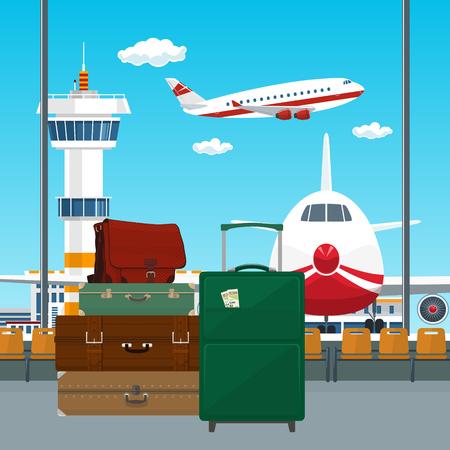 공항에서 여행자 수하물, 항공기 및 제어 탑, 여행 및 관광 컨셉, 벡터 일러스트와 함께 활주로 창을 통해 볼 수 있습니다.