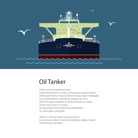 Poster with Industrial Vessel at Sea, Oil Tanker and Text, International Freight Transportation and Shipping, Brochure Flyer Design, Vector Illustration
