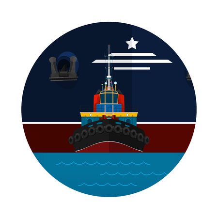 Tugboat Towing a Large Ship Icon, Front View of the Push Boats for to Towage and Mooring of Other Courts , Vector Illustration