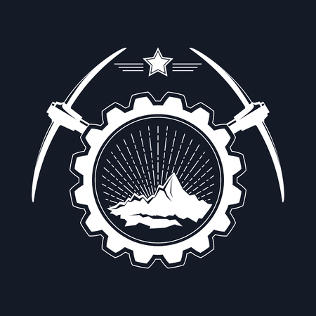 Mining Industry Emblem on Black Background, Sunburst and the Mountains in a Gear with Pickaxes and Star, Vector Illustration