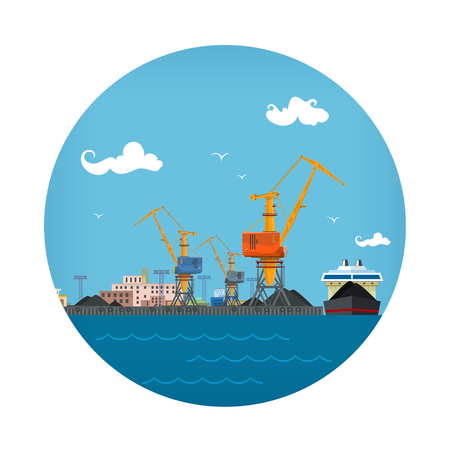 Cargo Sea Port , Unloading Coal or Ore from the Vessel, ,Logistic Icon, Sea Freight Transportation, Port Warehouses and Cranes, Vector Illustration Illustration