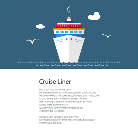 Poster with Cruise Ship , Liner at Sea and Text, Travel Concept , Brochure Flyer Design, Vector Illustration