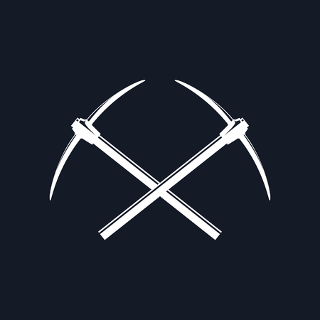 Two Crossed Pickaxes on a Black Background, Hand Tool with a Hard Head attached Perpendicular to the Handle , Vector Illustration