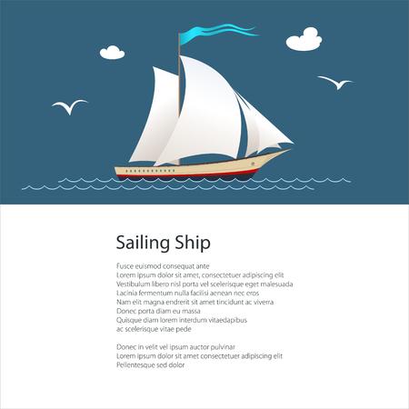 Plakat z jachtem na falach oceanu, żaglowiec do rejsów morskich, koncepcja podróży, projekt ulotki broszury, ilustracji wektorowych