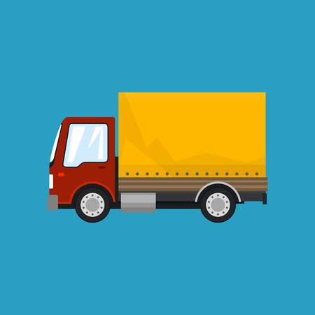 Red Orange Small Truck on Blue Background , Transportation and Cargo Delivery Services, Logistics, Shipping and Freight of Goods, Vector Illustration Illustration
