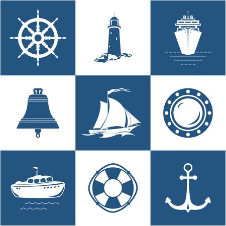 Satz Marine Icons, Segelschiff, Anker, Schiffsrad mit Rettungsring, Rettungsboot und Öffnung, Schiffsglocken-Leuchtturm mit Kreuzfahrtschiff, Seesymbol, Schiffsausrüstung, Vektor-Illustration Standard-Bild - 91119436