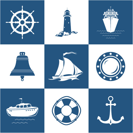 Set di icone marine, nave a vela, ancoraggio, nave ruota con salvagente, scialuppa di salvataggio e oblò, faro della nave campana con nave da crociera, simbolo nautico, attrezzature navali, illustrazione vettoriale Archivio Fotografico - 91119436