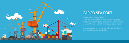 Horizontal banner of cargo seaport , cranes in port load containers on the ship or unload, poster brochure flyer design. Vector illustration