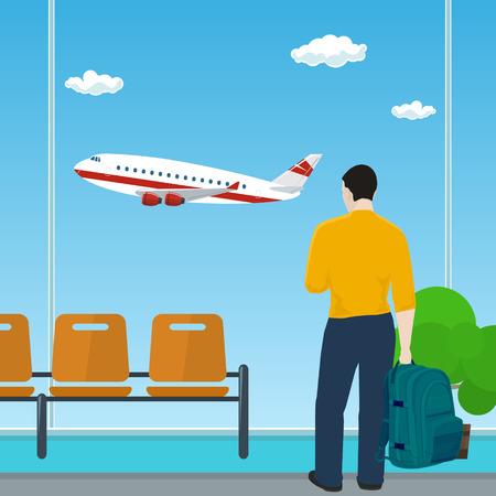 Homme avec un sac à dos, regardant par la fenêtre sur un avion volant, salle d'attente à l'aéroport, voyage et tourisme Concept Vector Illustration
