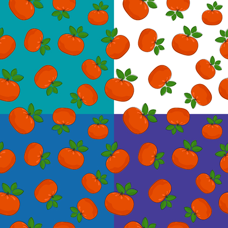 Set of four Seamless Fruit Citrus Patterns, Tropical Fruit Mandarin on Blue Background, Vector Illustration.